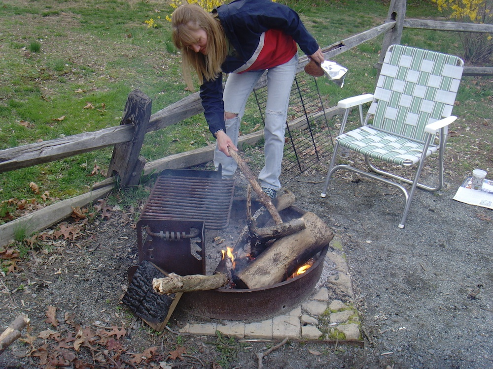 Preparing to cook last year's Easter Dinner over a campfire.