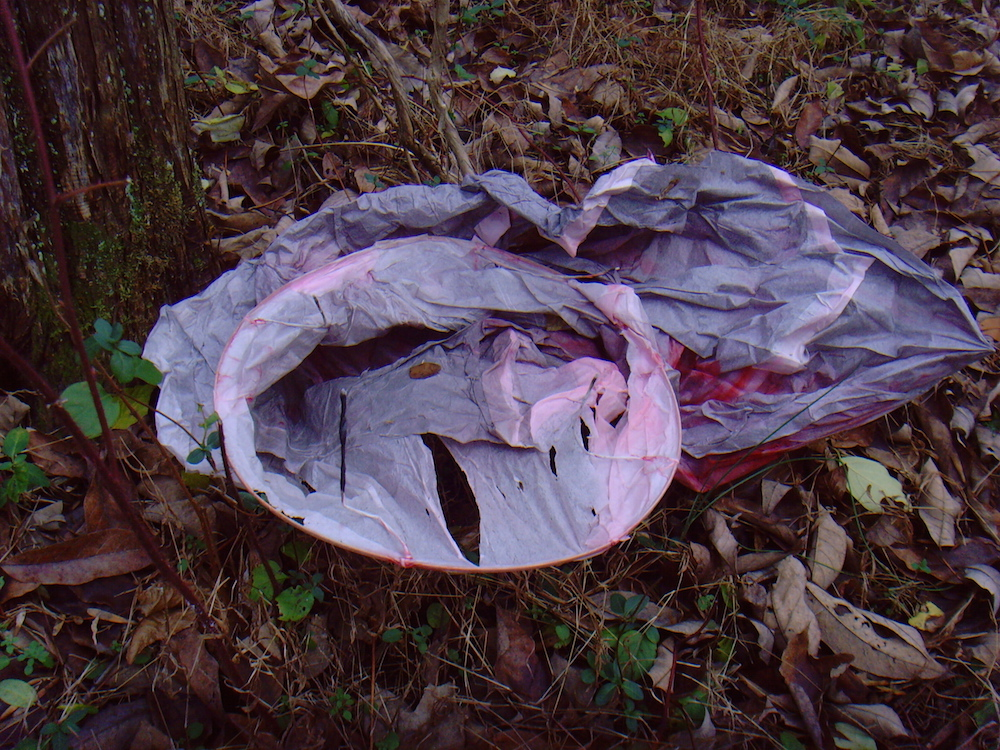 Store-bought sky lantern, made of artificial materials that neither incinerate or biodegrade quickly.