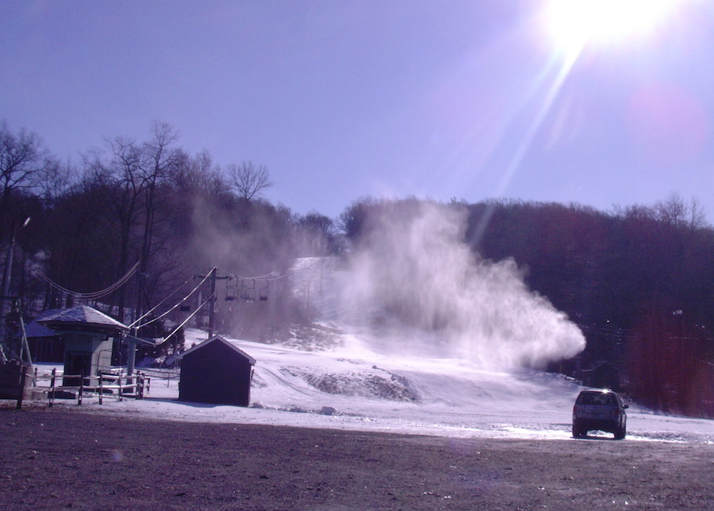 Snow guns transform the landscape at Spring Mountain Ski Area